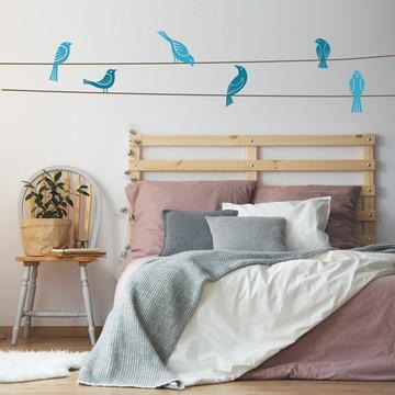 Adesivo Parede Quarto Pássaros Azul