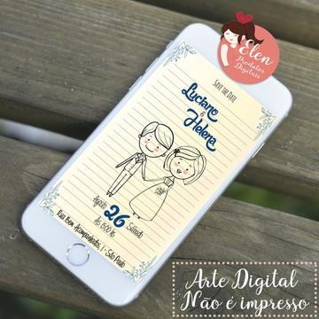 Convite de Casamento - Digital Folha de Caderno