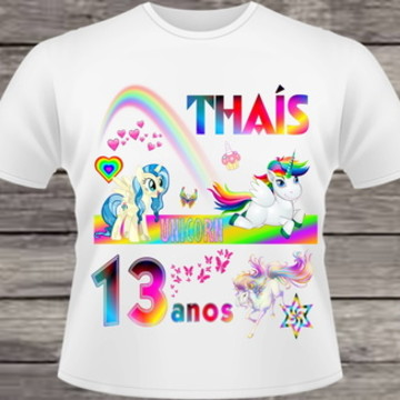camiseta unicórnios (tema de festa - nome e idade) #055