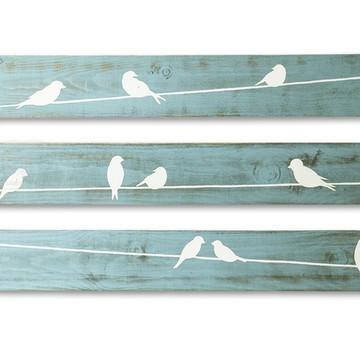 Trio de placas decorativas em madeira Pássaros Azul