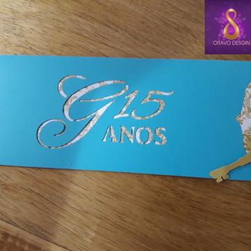 convite de 15 anos - Azul Tiffany c/ Dourado