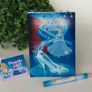 Bloquinho com mini Lápis Personalizado Cinderela