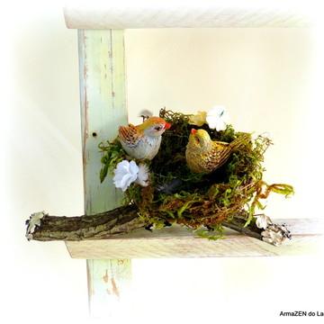 Porta aliança de casamento rústica com ninho passarinho