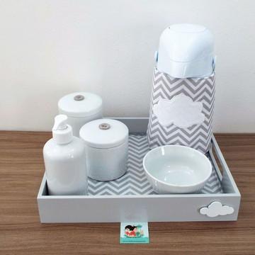 Kit Higiene Nuvem Chevron Cinza e Branco