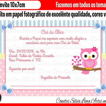 Convite corujinha chá de bebê coruja