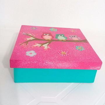 caixa decorada corujas