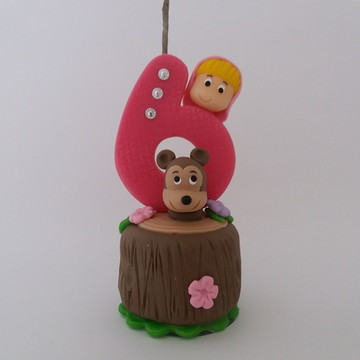 Vela Personalizada Menina e o Urso de Biscuit