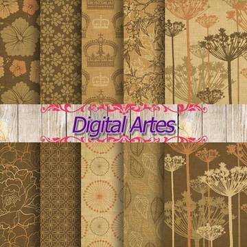 Kit Digital Papéis Florais Marrom