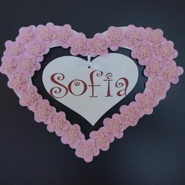 Porta Maternidade Coração Rosa