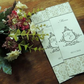 Menu de Casamento Personalizado Rustico