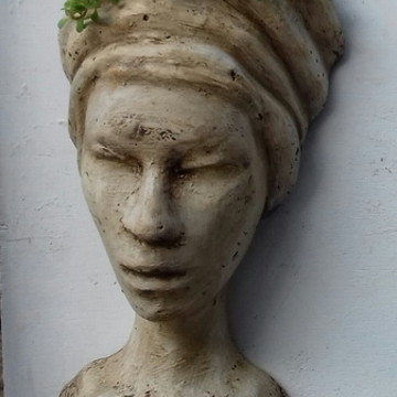 VASO DE PAREDE DECORATIVO ESCULTURA AFRO/EGITO (sem plantas)