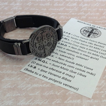 Pulseira Medalha de São Bento GRAFITE - couro preto