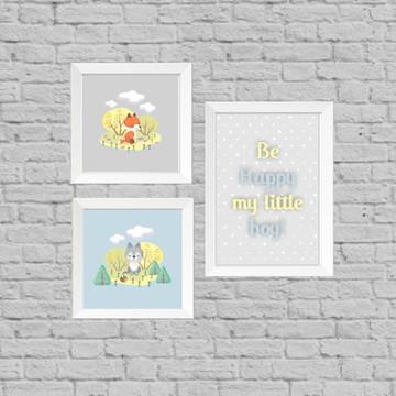 Kit quadro infantil be happy little boy