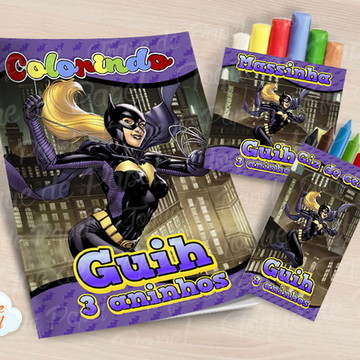 Kit colorir giz massinha batman batgirl