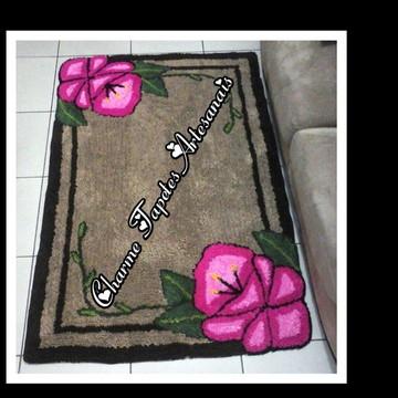 Tapete frufru para sala flor orquídea + passadeira