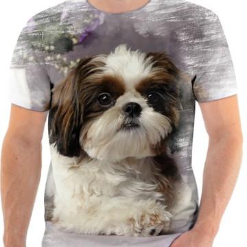 Camiseta Animal Cachorro Shih-tzu Fofo 3d Full HD 3