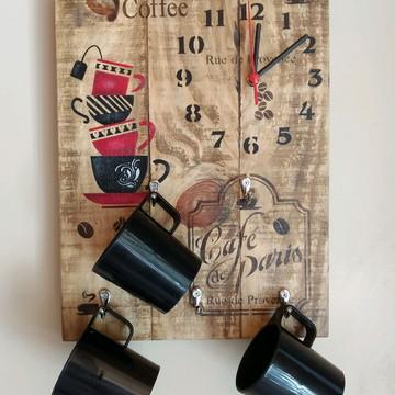 Porta Xícaras e Relógio Rústico