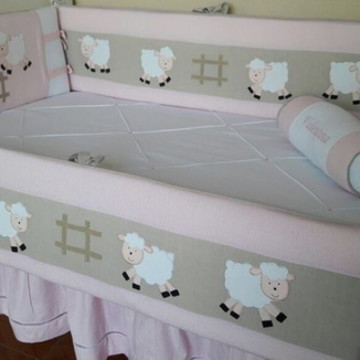 Kit Berço Ovelha Ovelhinha Rosa