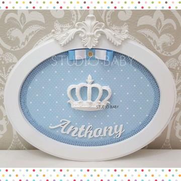 Quadro Maternidade Menino Coroa Oval
