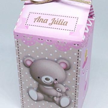 Caixa milk chá de bebê ursinha marrom e rosa