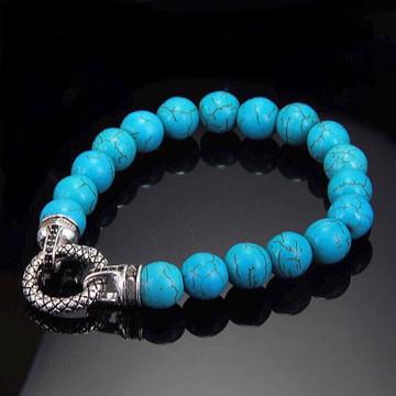 Turquoise Stone Bead Bracelet