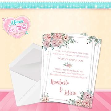 Convite Casamento Floral Rose - Arte digital