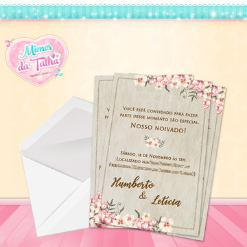 Convite Casamento Rústico Floral - DIGITAL