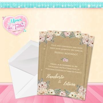 Convite Casamento Rústico - DIGITAL