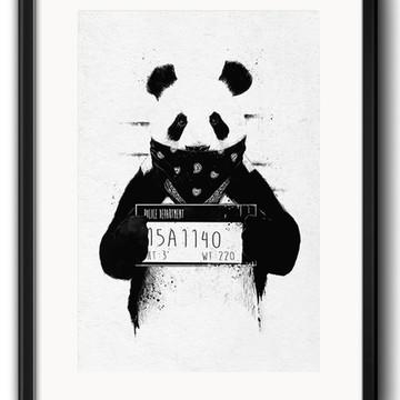 Quadro Panda Preto Branco com Paspatur