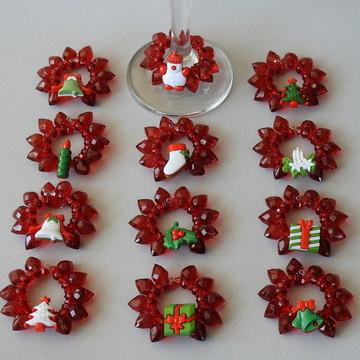 Marca taça de natal 12 peças vermelho