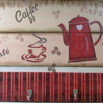 PLACA CANTINHO DO CAFÉ COM GANCHOS