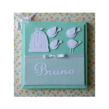 livro bebê personalizado menino passarinhos verde scrapbook