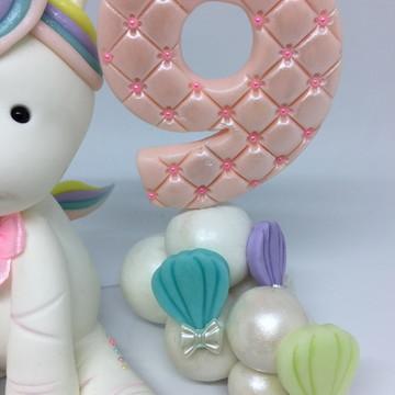 Vela Número Personalizada - Unicórnio e Balões
