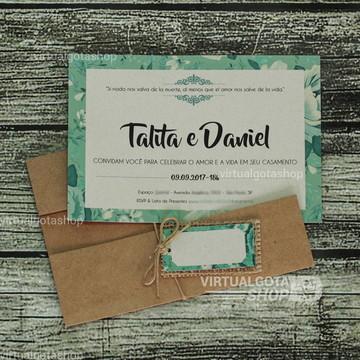 Convite de Casamento Rústico Folhagens Verdes Talita 18a