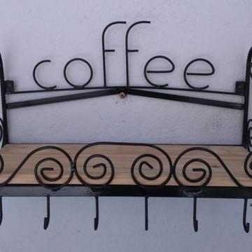 Prateleira Café Em Ferro E Madeira