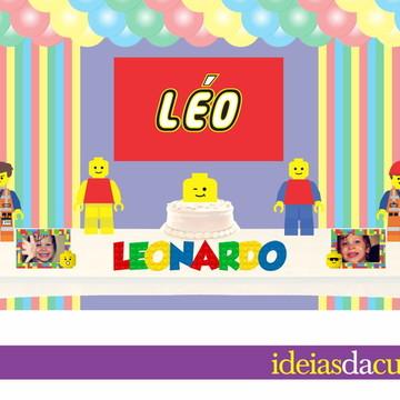 Kit Festa Decoração Completa em MDF Inspiração Lego