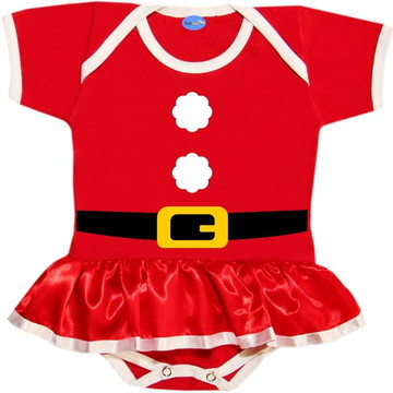 Body Saia de Natal Para Bebê Mamãe Noel Pompom
