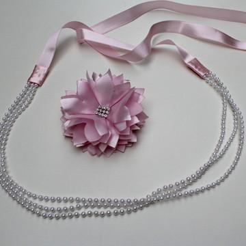 headband faixa tiara noiva pérola flor
