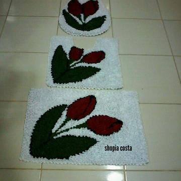 tapete frufru banheiro flor