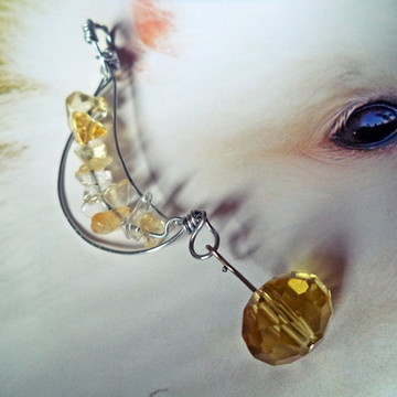 Pingente meia lua de citrino e cristal amarelo