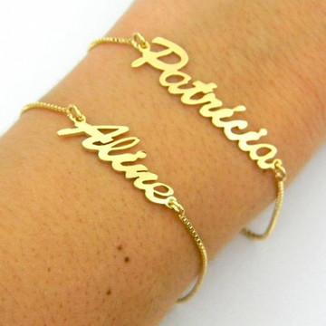 Pulseira de Nome Dourada Personalizada