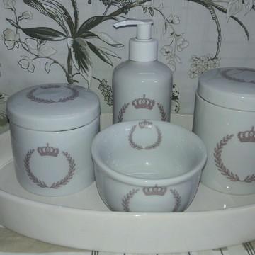 Kit Higiene Bebê coroa 4 pecas bandeja