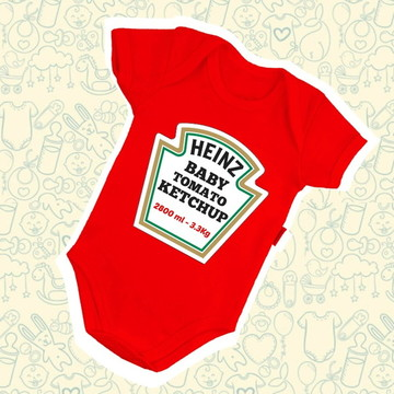 Body Infantil Bebê Heinz Ketchup B573VM