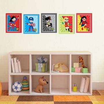 Kit 5 Quadros Decorativos Super Heroínas 24x30 cm