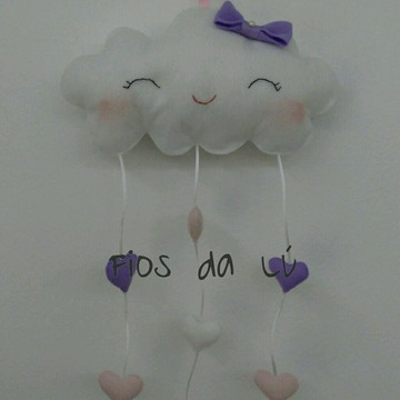 Enfeite para quarto do bebê nuvem em feltro
