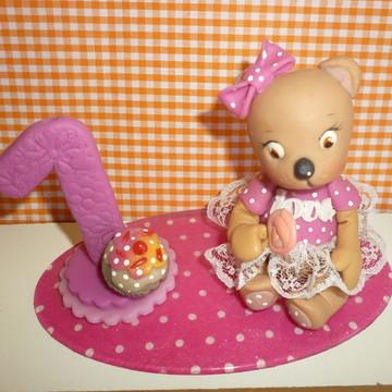 mini Topo de bolo ursinha rosa