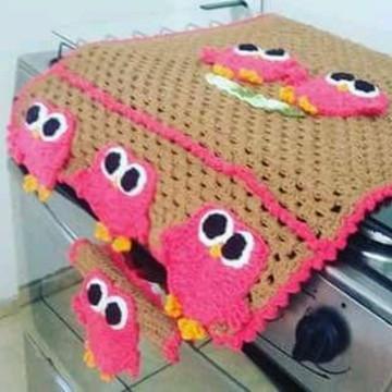 tampa fogão em croche 4 bocas