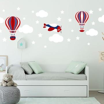 Adesivo avião/balões/nuvens