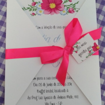Convite casamento floral econômico