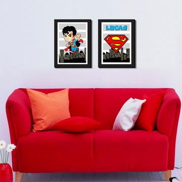 02 Quadros Super Homem Personalizado